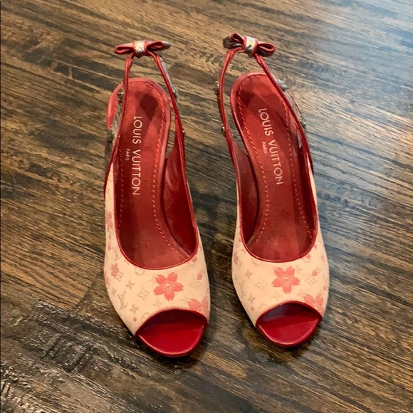 b8493036f Louis Vuitton Shoes | Pink Floral Sling Back Stilettos | Poshmark